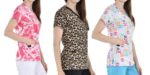 Women's Scrub Tops Only $9.99 on Zulily (Regularly $28+) | 24 Designs, Sizes up to 5X