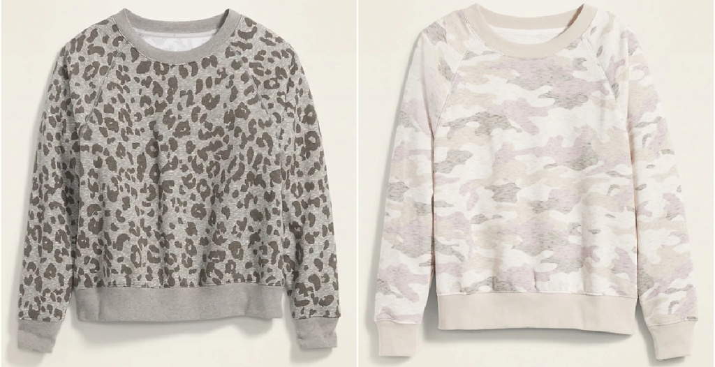 leopard print and camo print women's sweatshirts from old navy