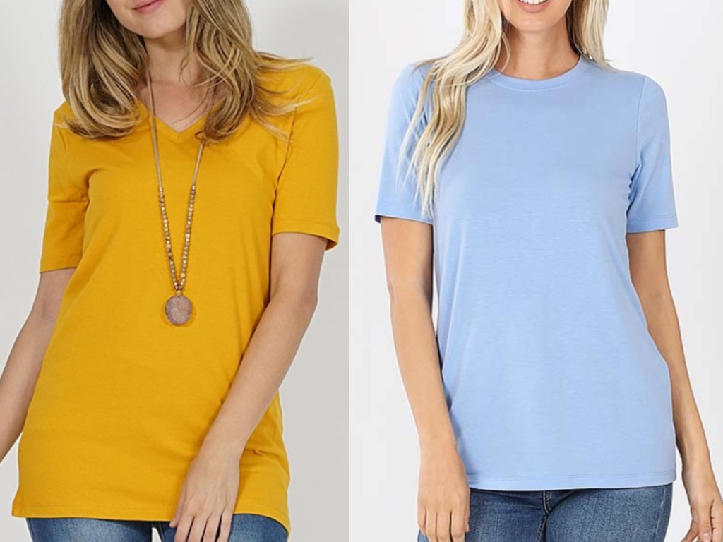 2 women standing next to each other wearing basic tees