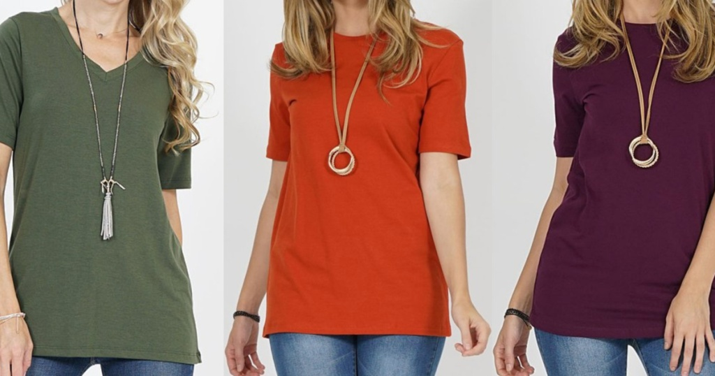 3 women wearing basic tees standing next to each other