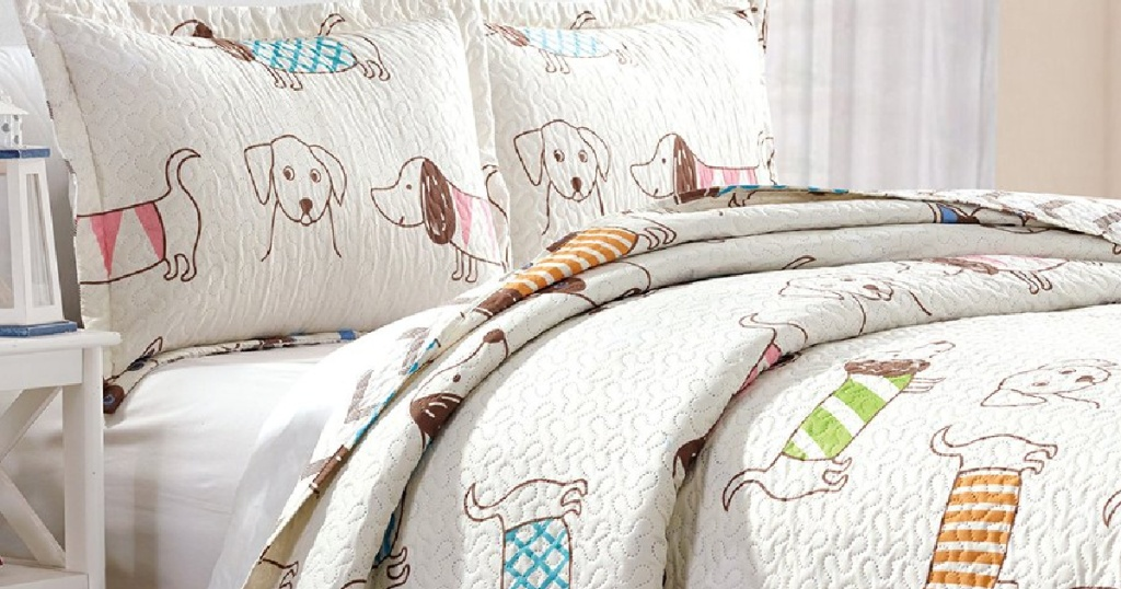 Zulily Kids' Quilt Set with puppies