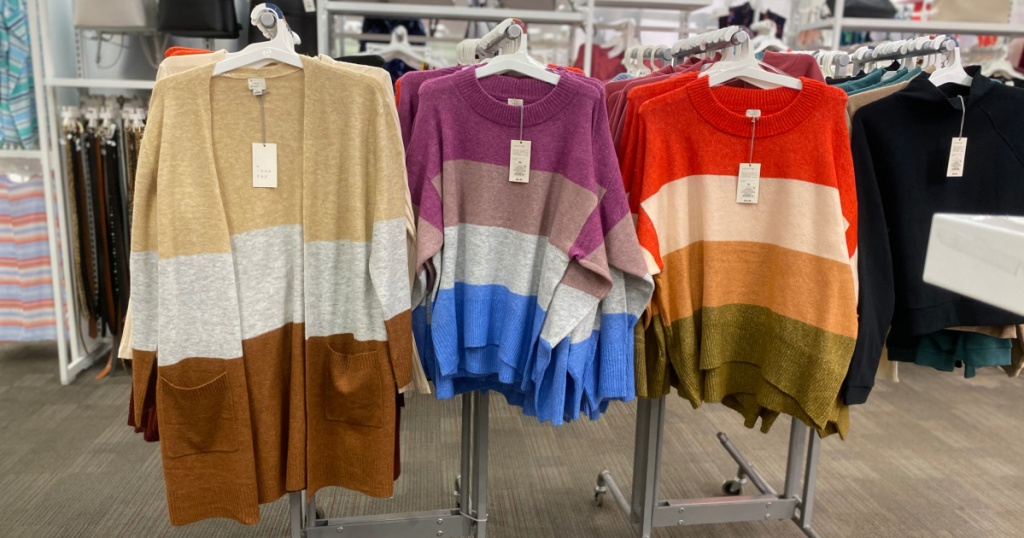 three a new day color block sweaters on rack at target