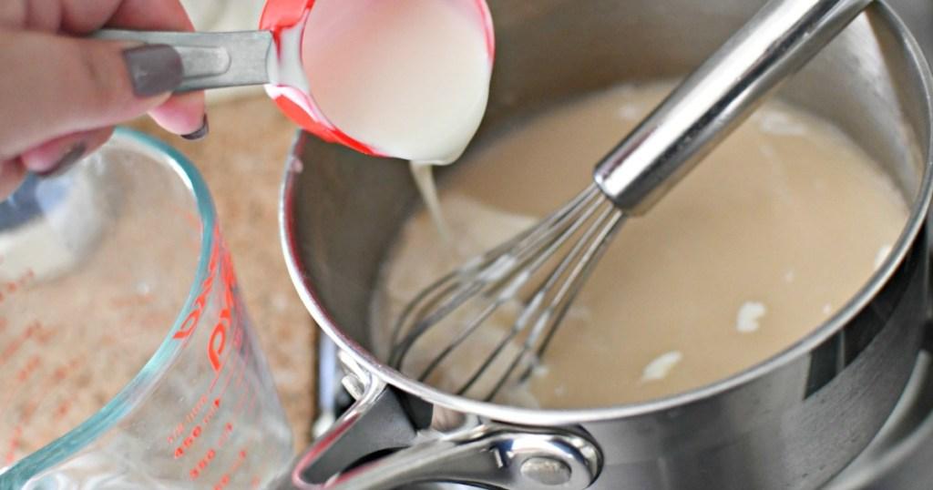 adding cream to cream of chicken soup