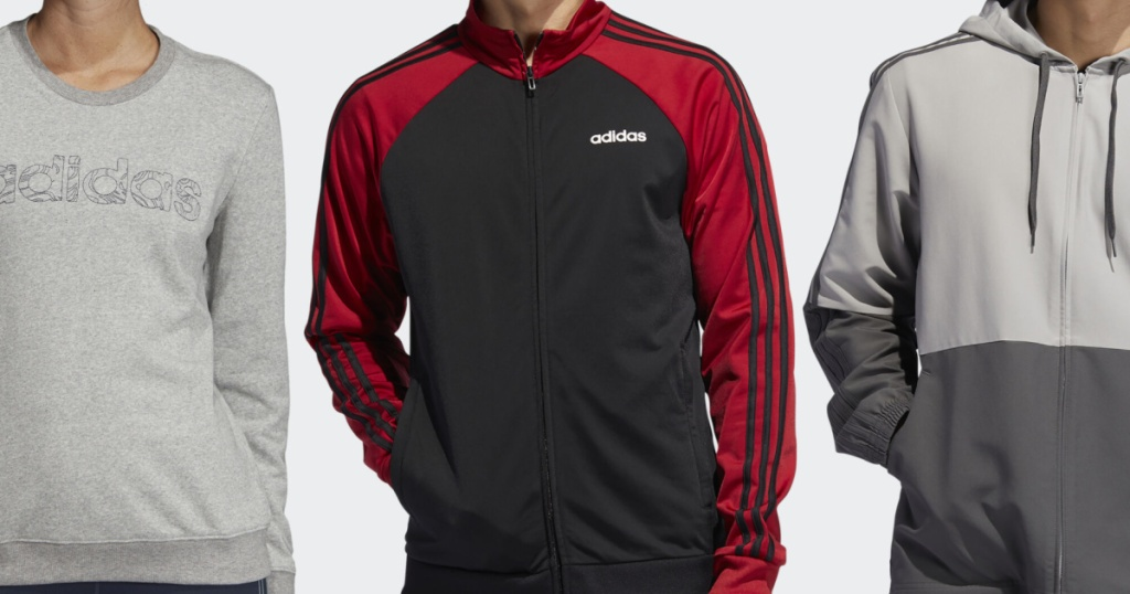3 people lined up next to each other wearing adidas apparel