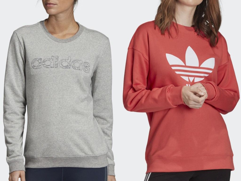 2 women standing next to each other wearings adidas brand sweatshirts