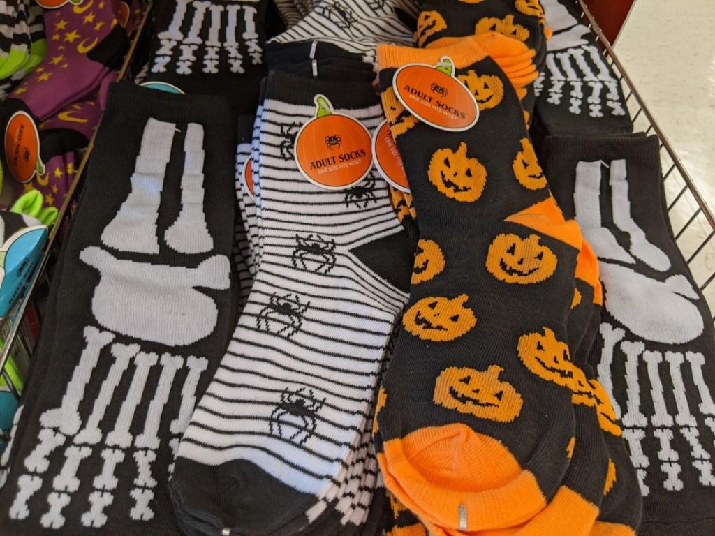 halloween themed socks on store shelf