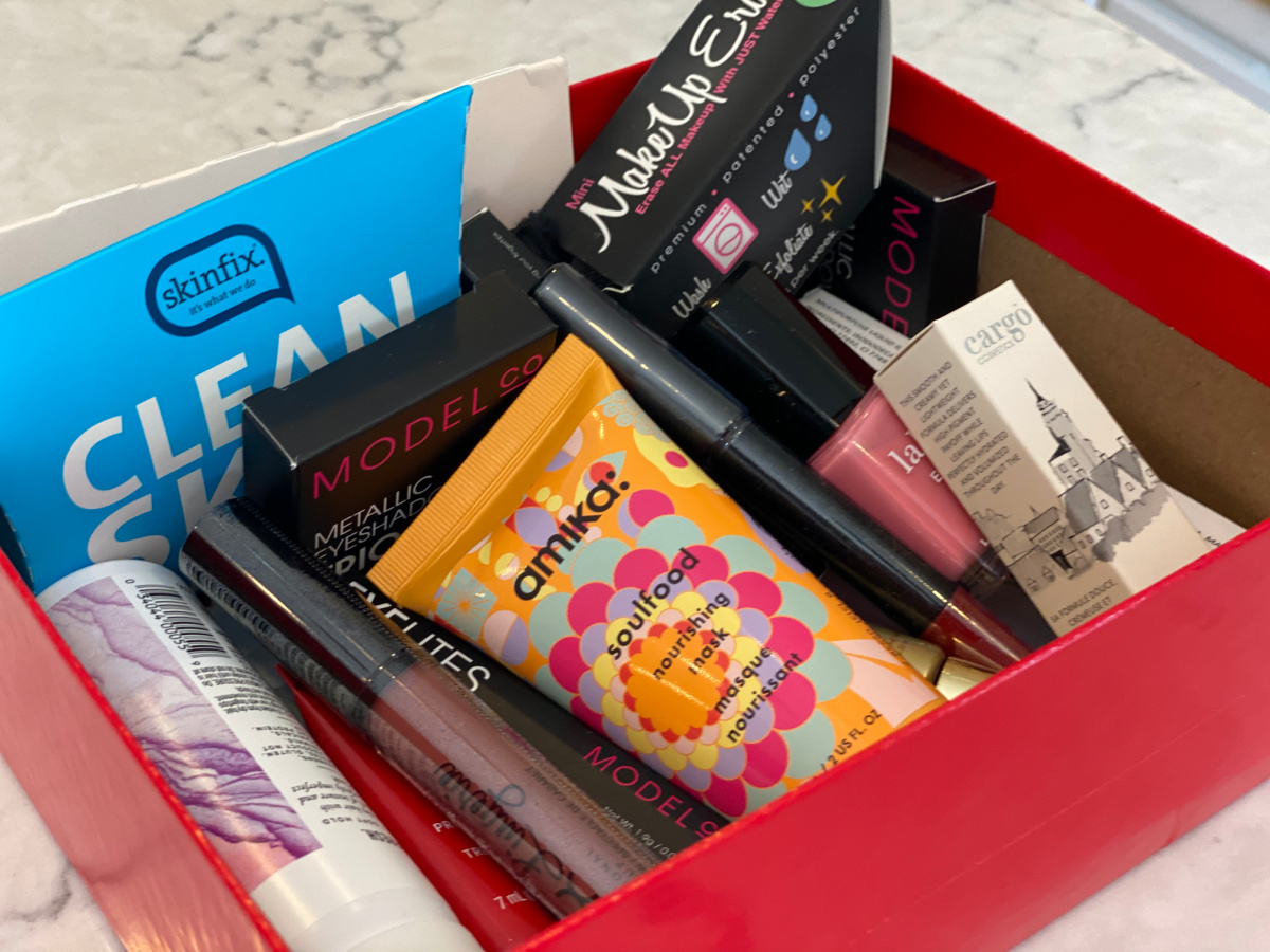 Allure box filled with beauty products