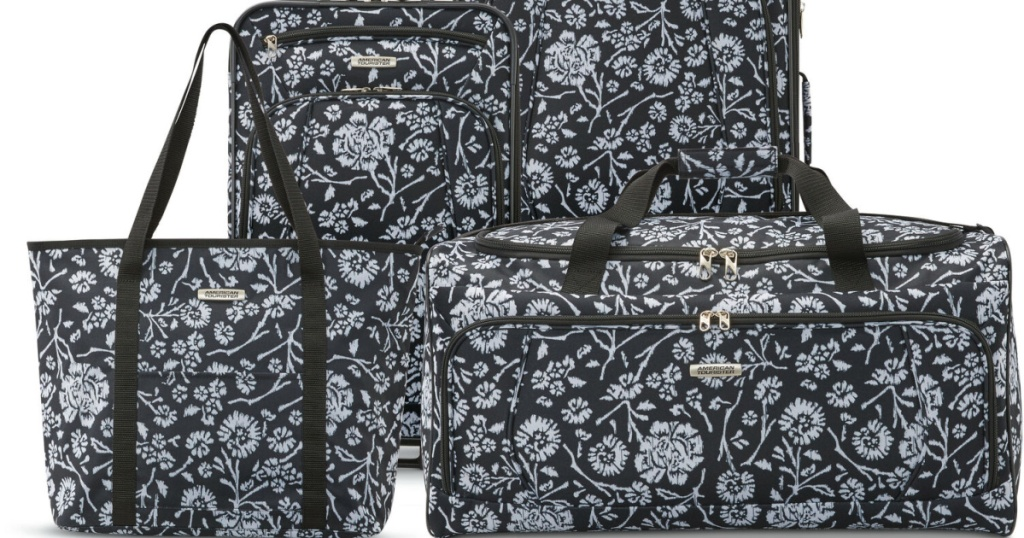 black and white floral luggage set