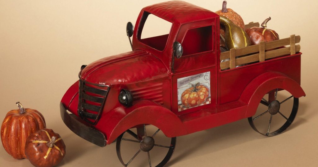 antique red truck used as decor