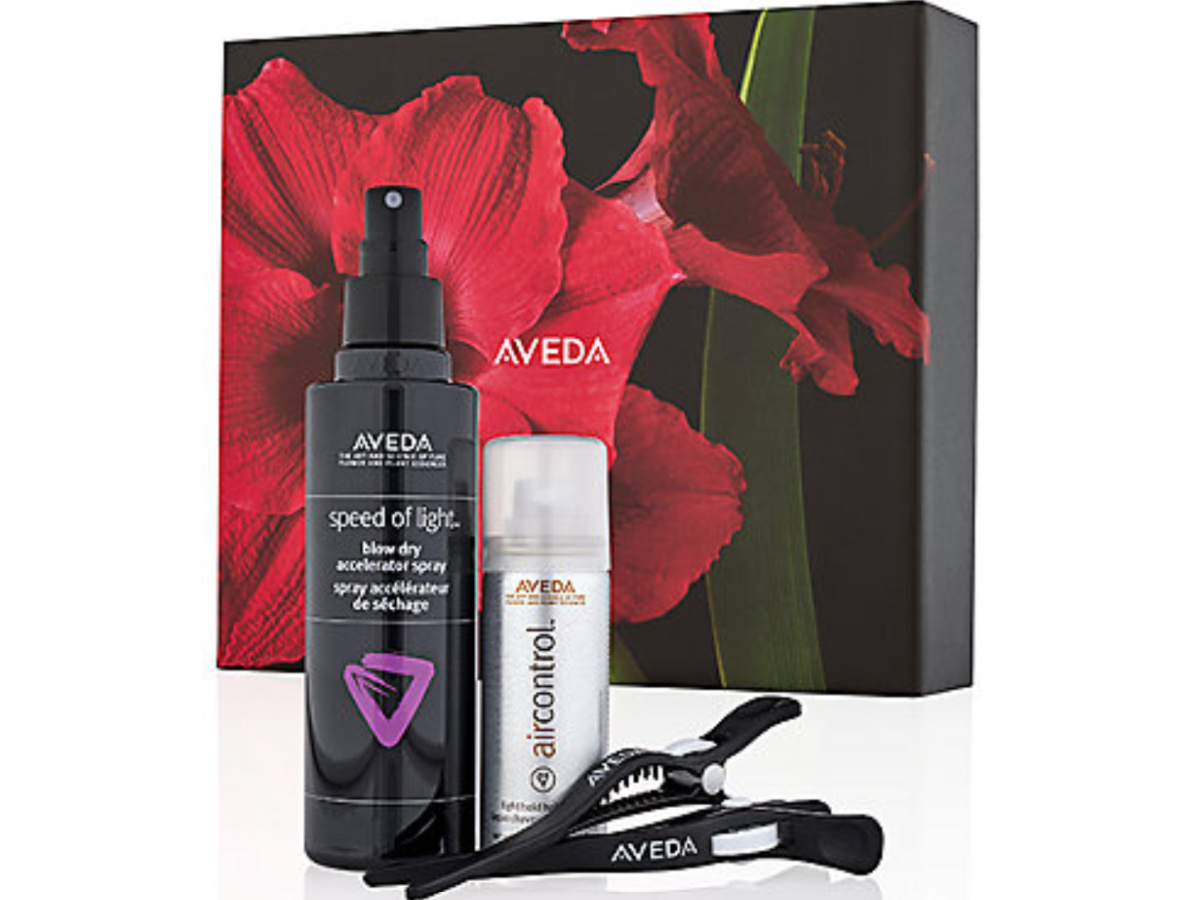Aveda Gift Set box and blow dry spray, air control and 2 clips