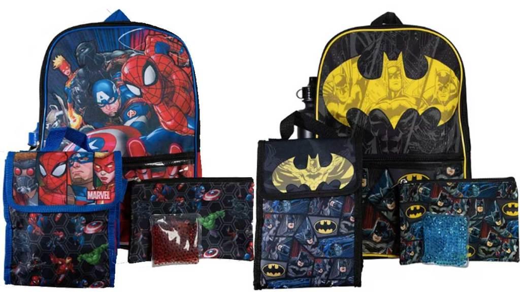 avengers and batman backpack sets