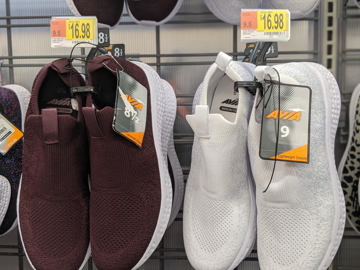 plum and white avia womens slip on shoes