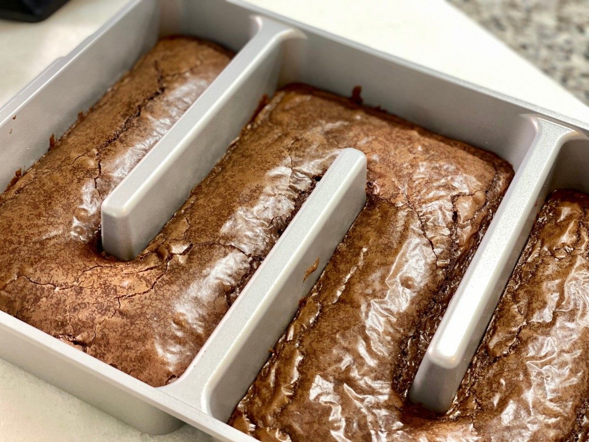 brownies baked in Baker's Edge Brownie Pan