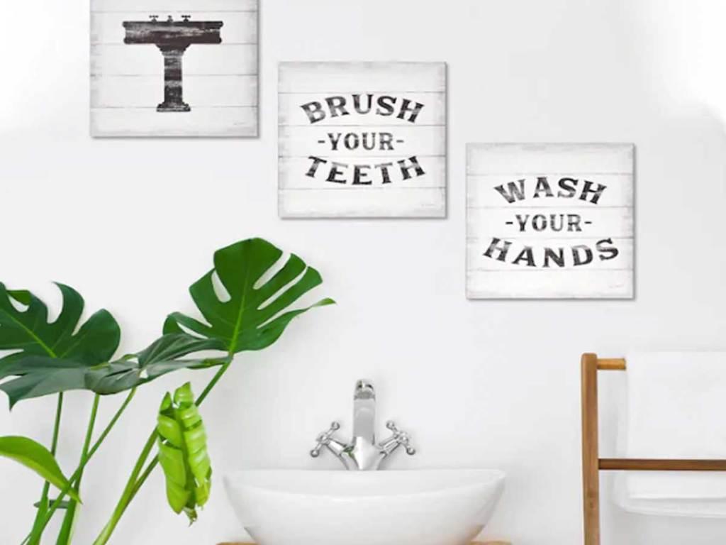 three piece bathroom canvas set