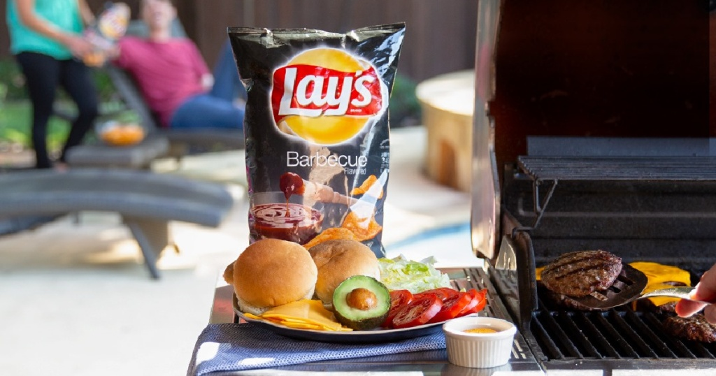 Lay's BBQ Chips on grill hamburger fixings