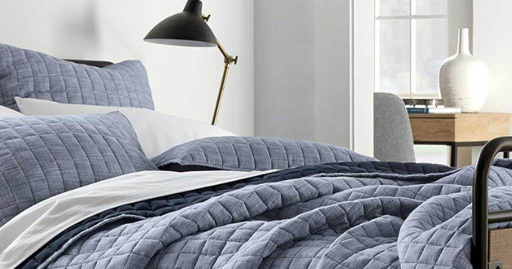 picture of bed with denim bedding