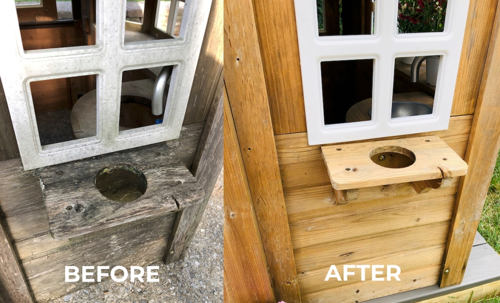 before and after of kids playhouse