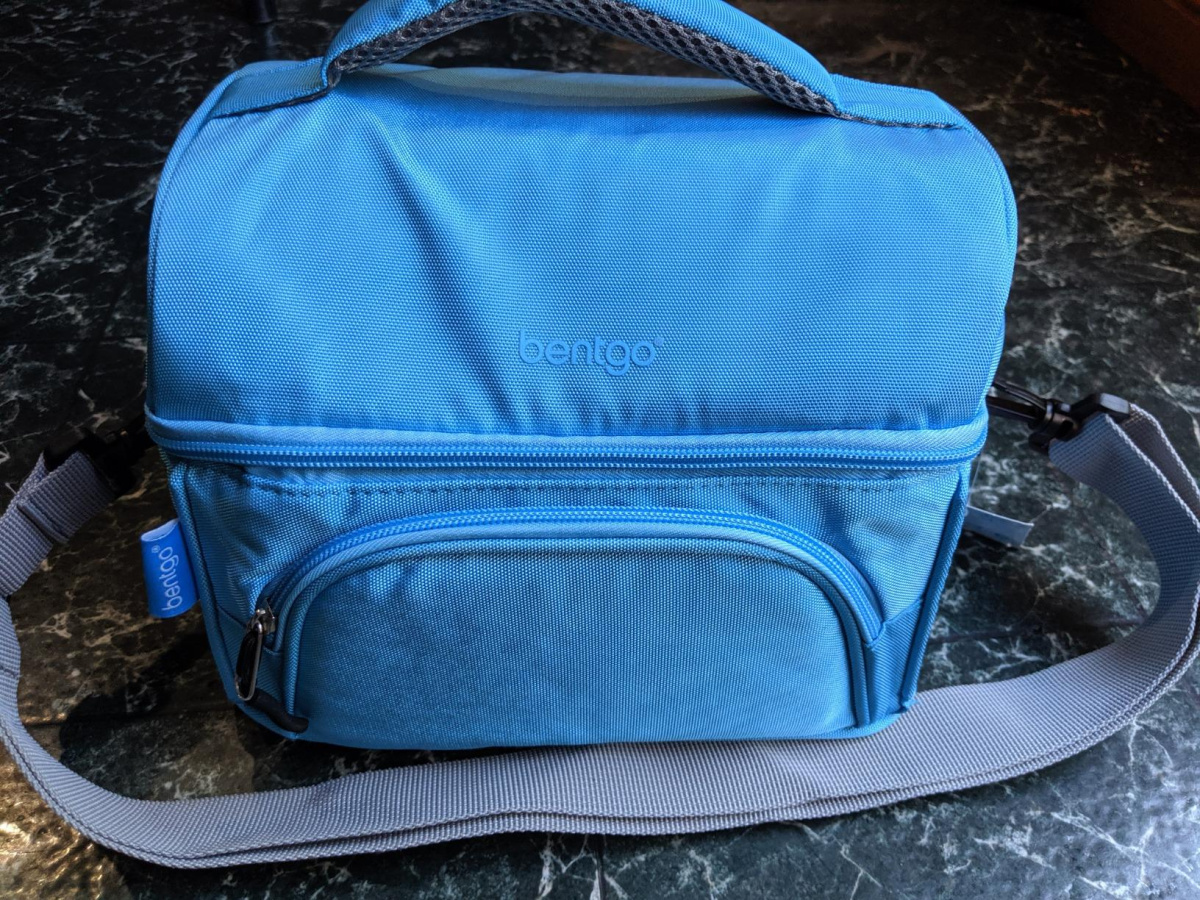 blue bentgo lunch box on marble surface