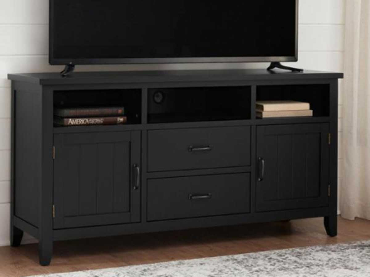 black tv stand with four drawers