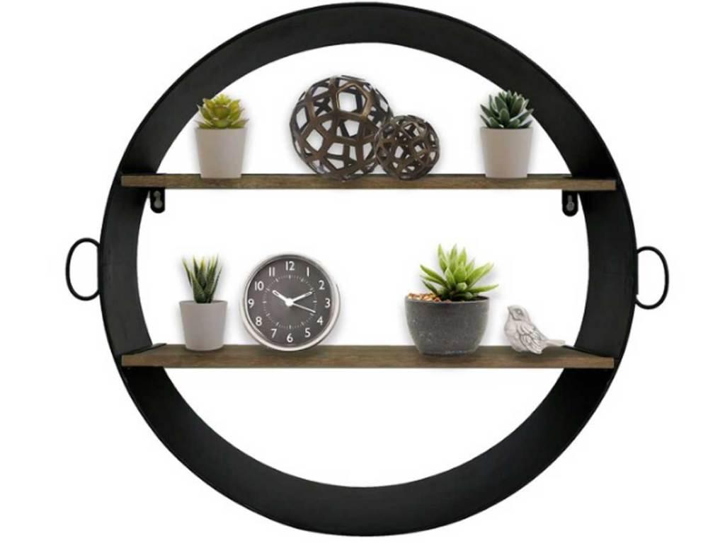black metal circle shelf with two wood shelves
