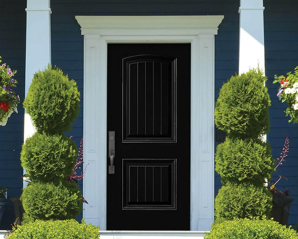 black front door with landscaped bushed out front