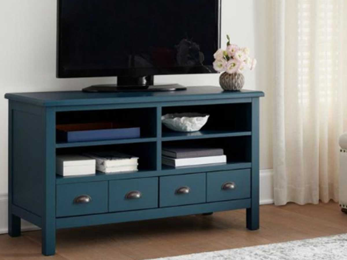 teal tv stand with four drawers