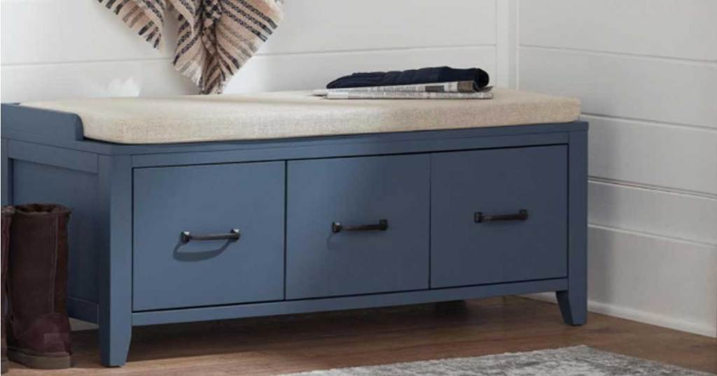 entry way bench in blue
