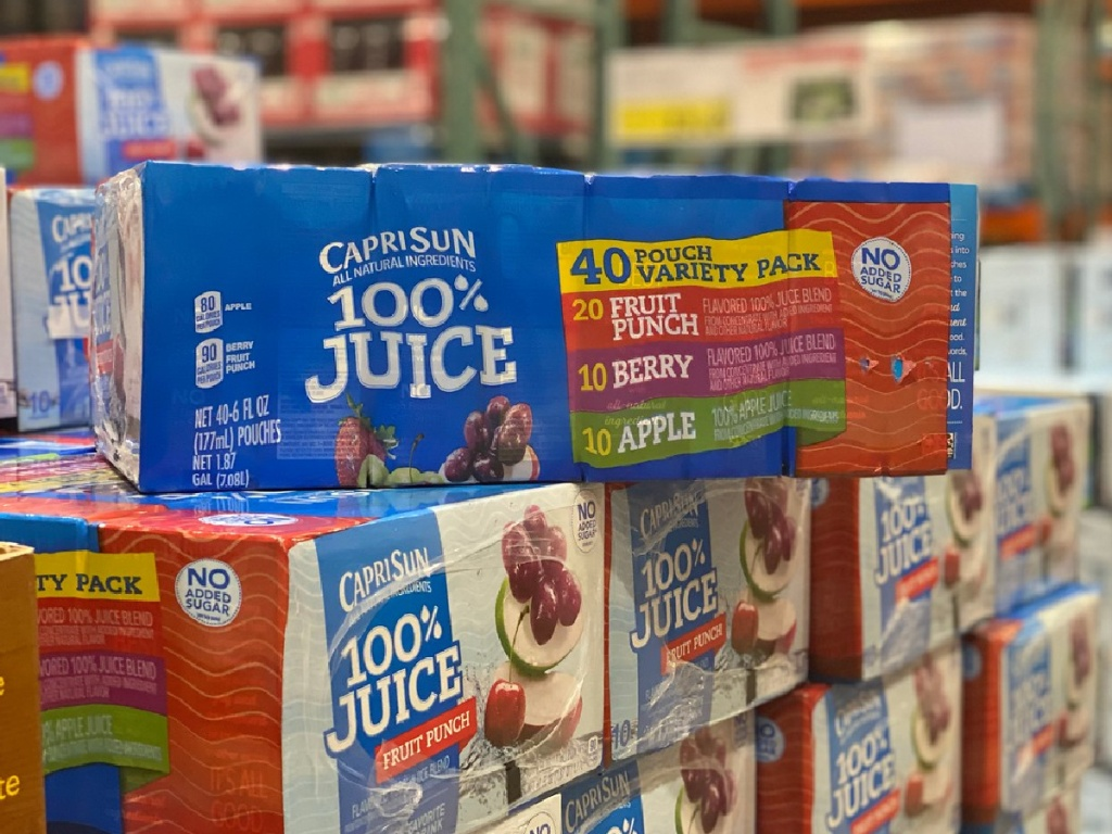 boxes of juice packs for kids in store
