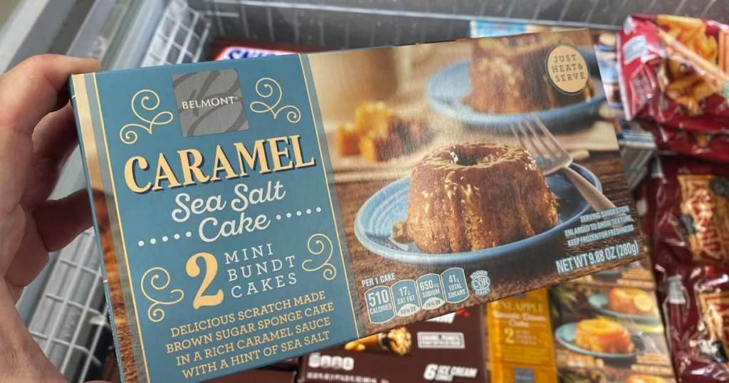 caramel sea salt cake in store being held up
