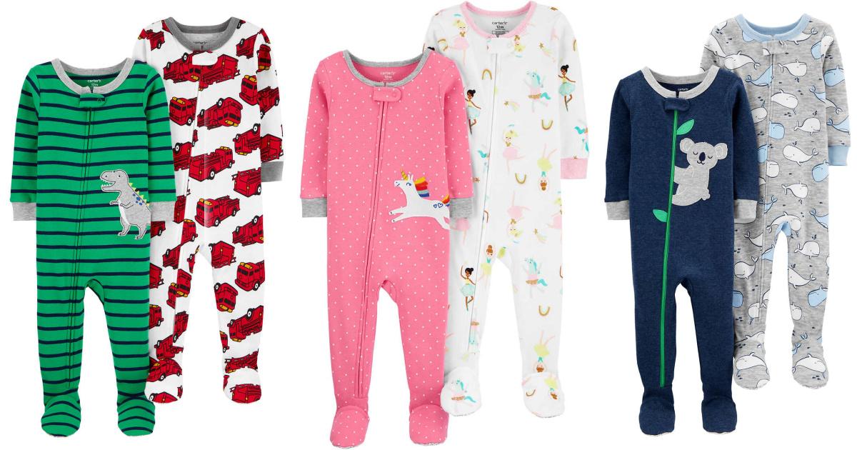 3 pairs of carters brand kids pajamas that zip up