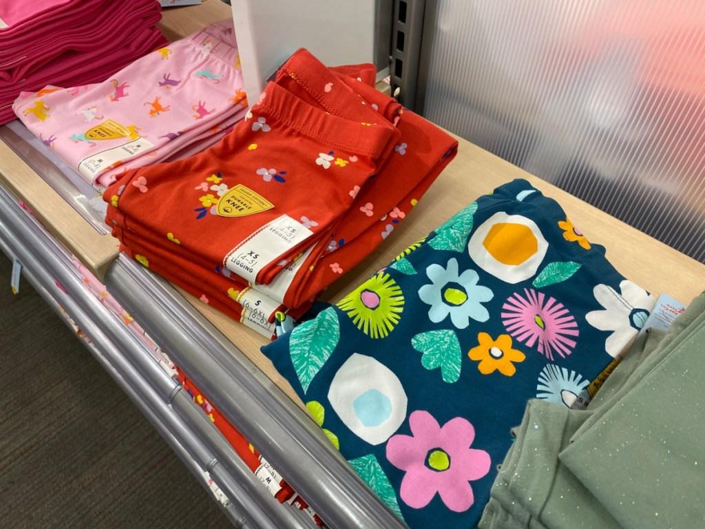 little girls leggings on store display