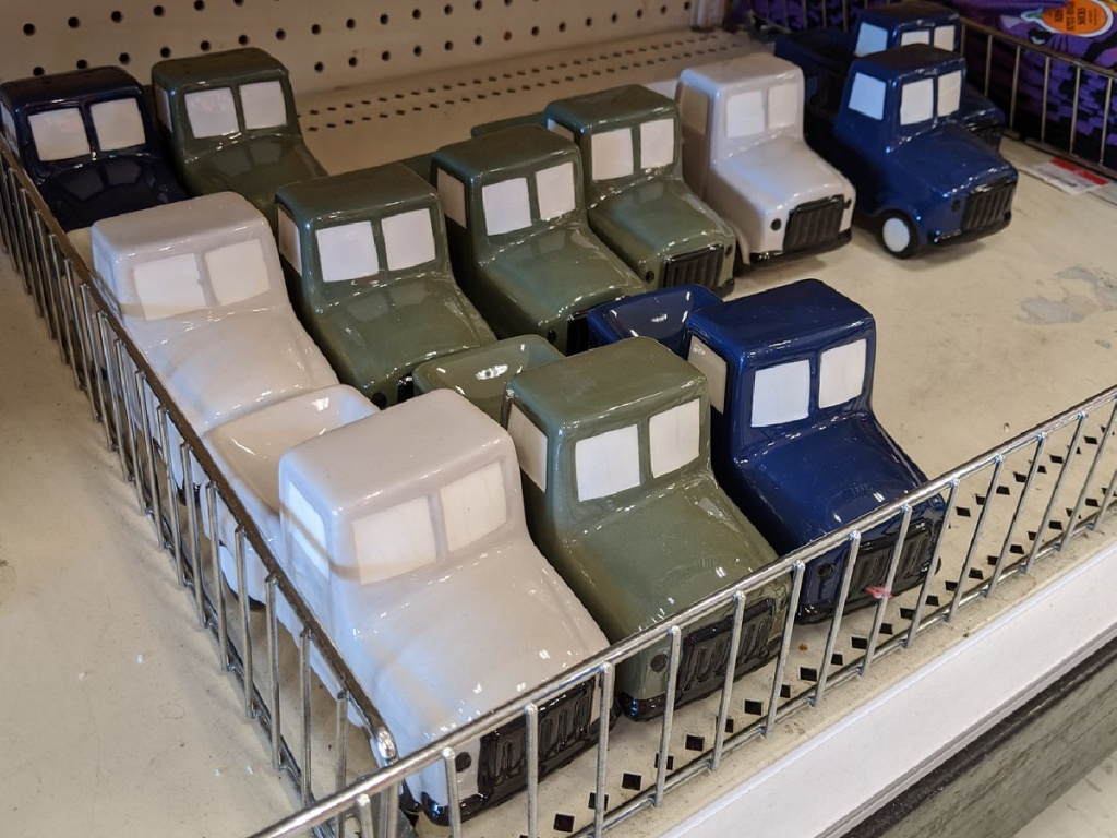 store display with small ceramic trucks