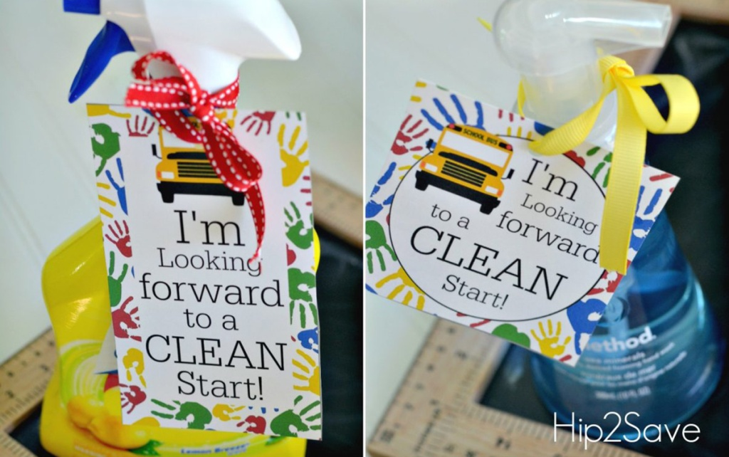 cleaning supplies with clean start tags