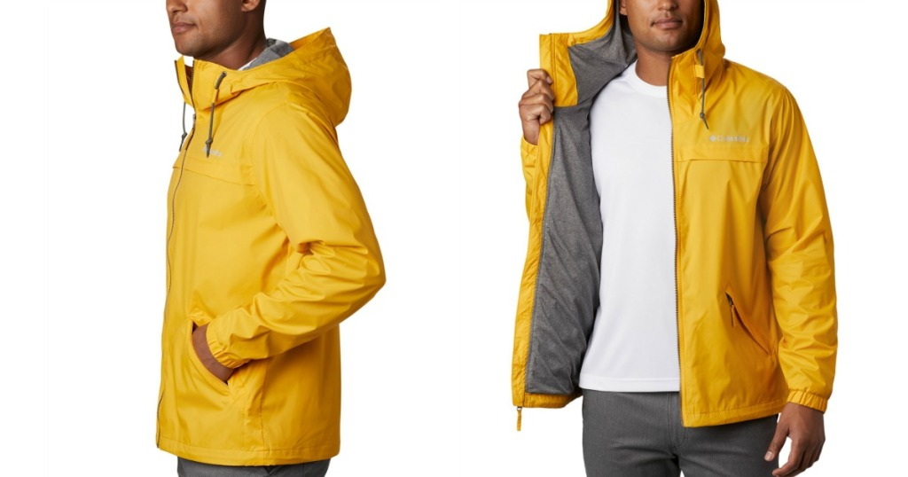 Man wearing columbia oroville jacket in gold