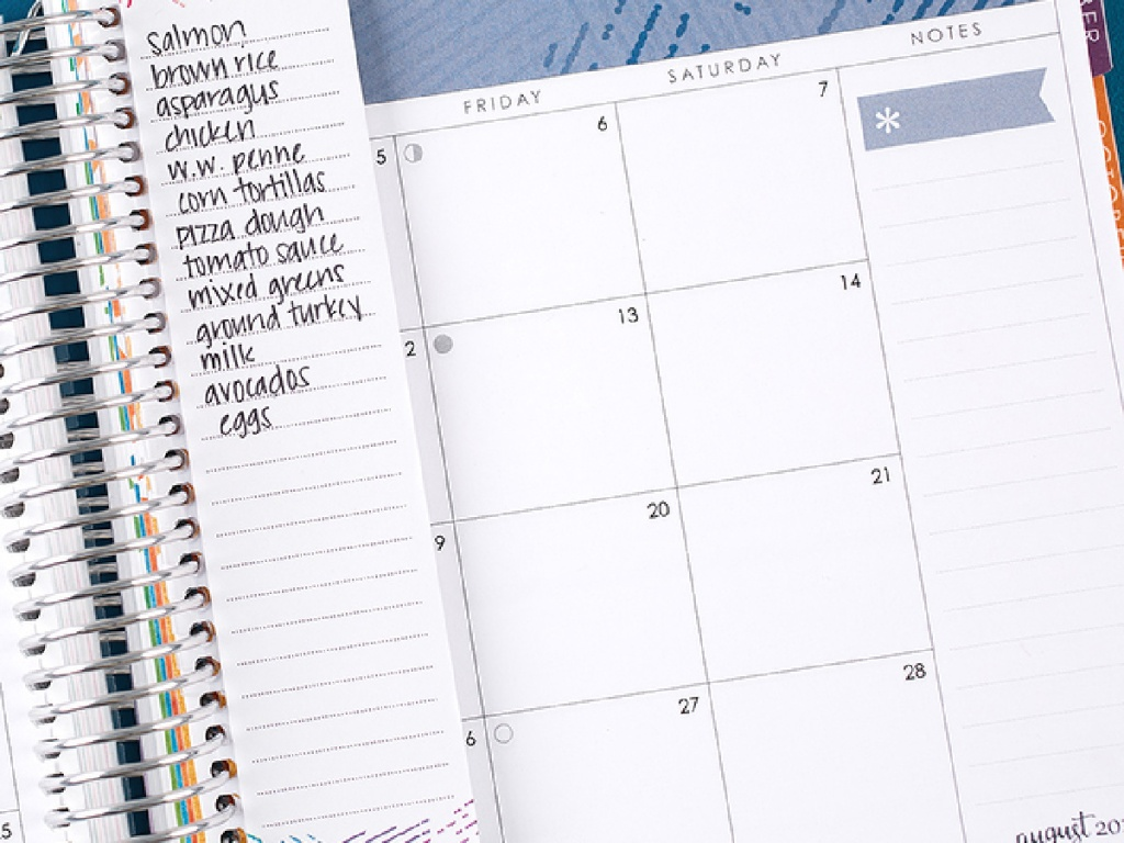 notepad in date book