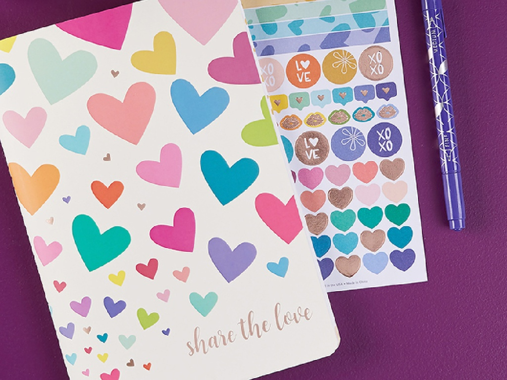 share the love notebook and stickers and pen