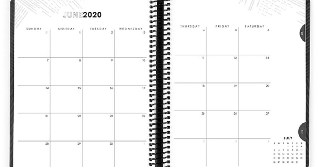 planner opened to June 2020 calendar