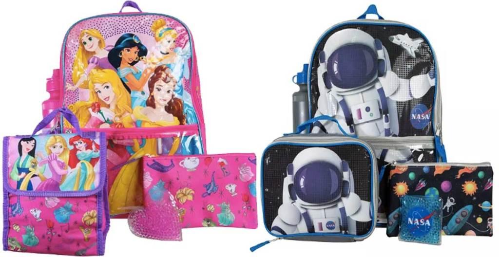 disney princess and nasa backpack sets