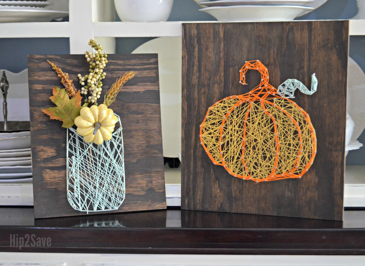 2 examples of fall-inspired string art