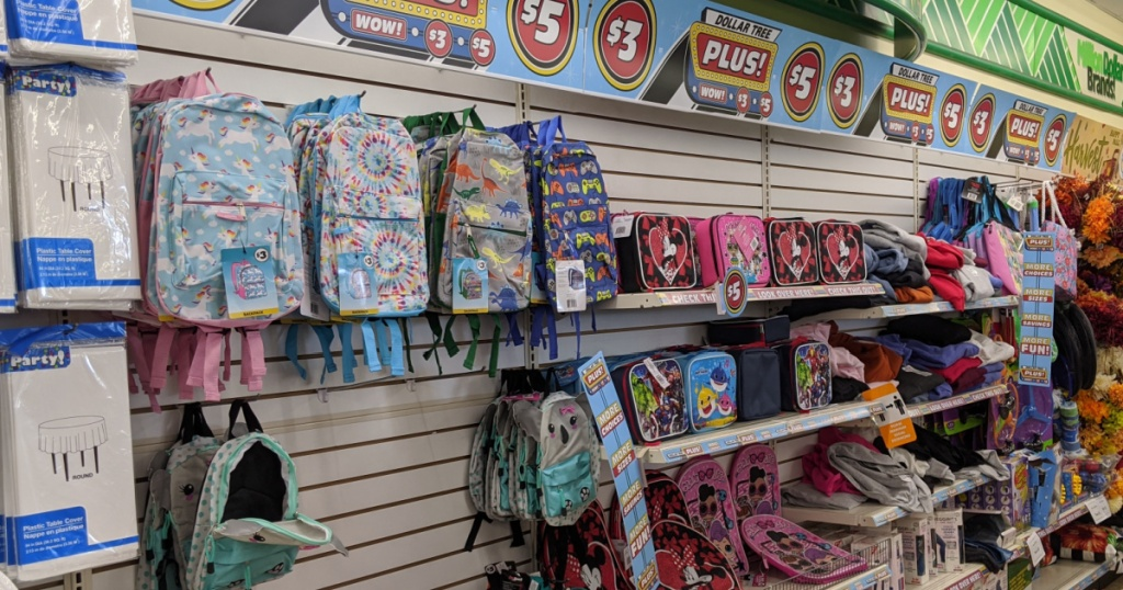 Collection of kids backpacks and lunch boxes on display in-store