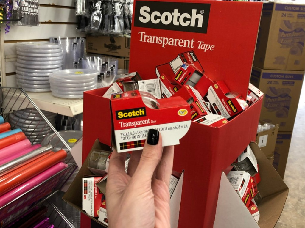 holding Scotch Tape at Dollar Tree