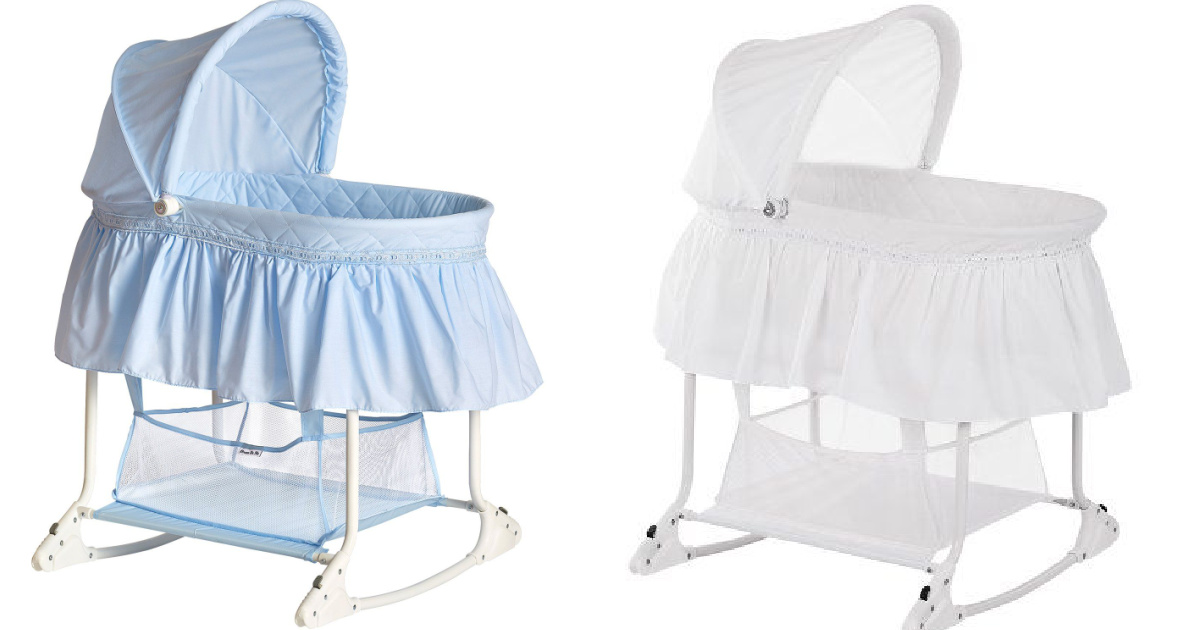 blue and white bassinet