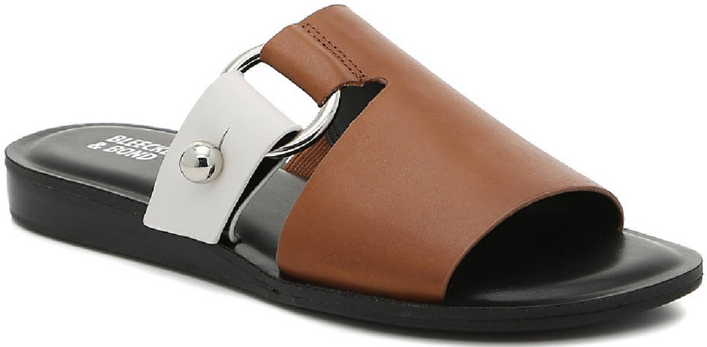 tan and white flat open-toed sandals