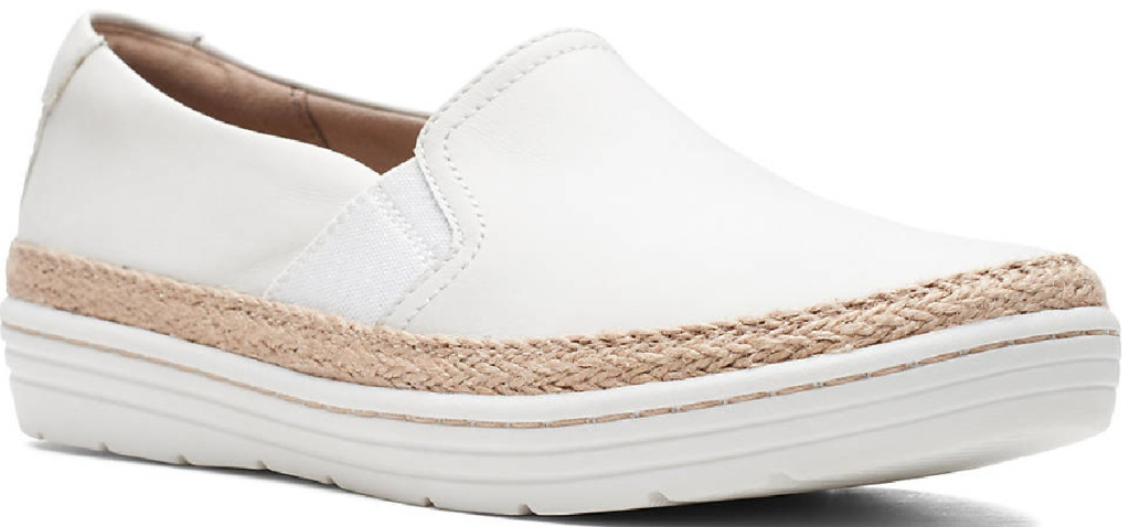 white slip on flats with espadrille trim