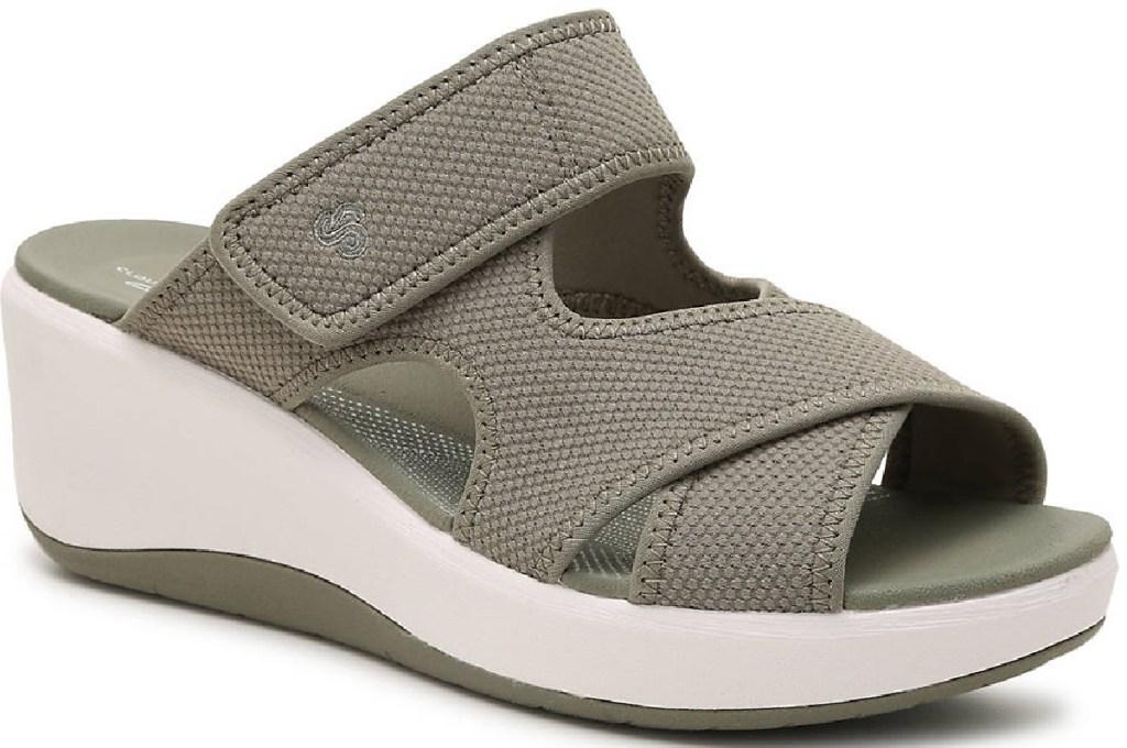 grayish green sporty wedge sandals