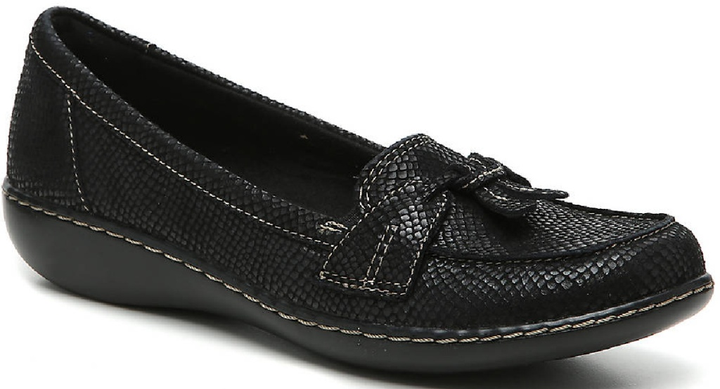 black leather looking flats