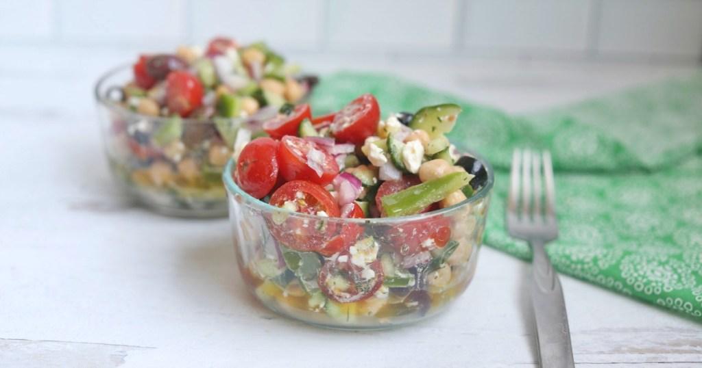 easy greek salad in bowls