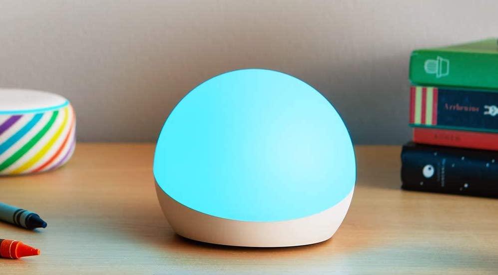 Echo glow on nightstand near Echo Dot