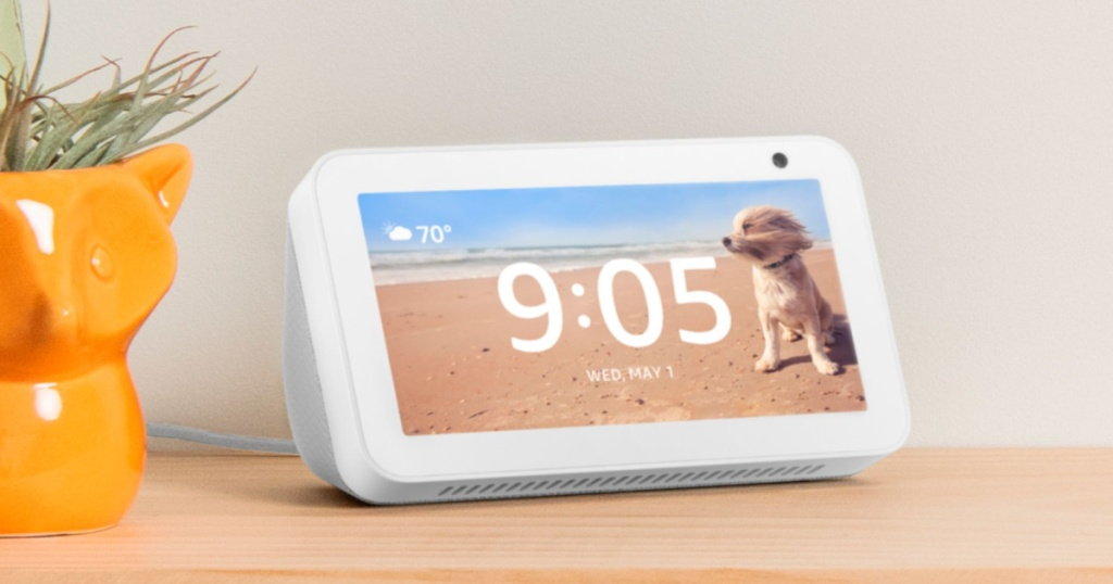 echo show 5 in sandstone on table