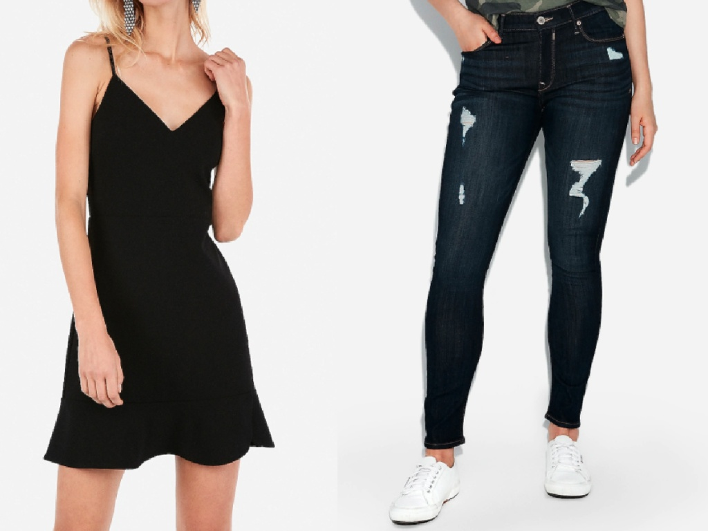 women wearing black dress and ripped jeans